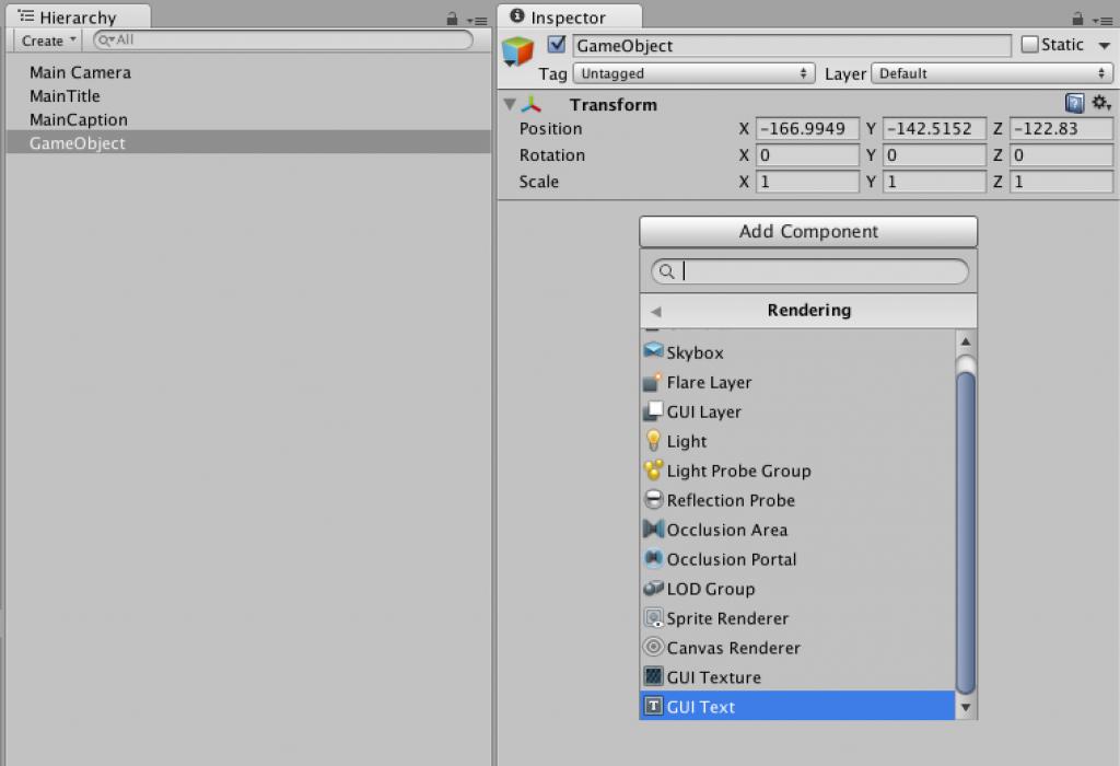 空のGameObjectにGUI Text を追加。