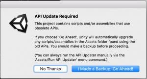 APIのアップデートが必要な旨を通知するポップアップ。「I Made a Backup,Go Ahead!」を押すと、スクリプトが更新される。